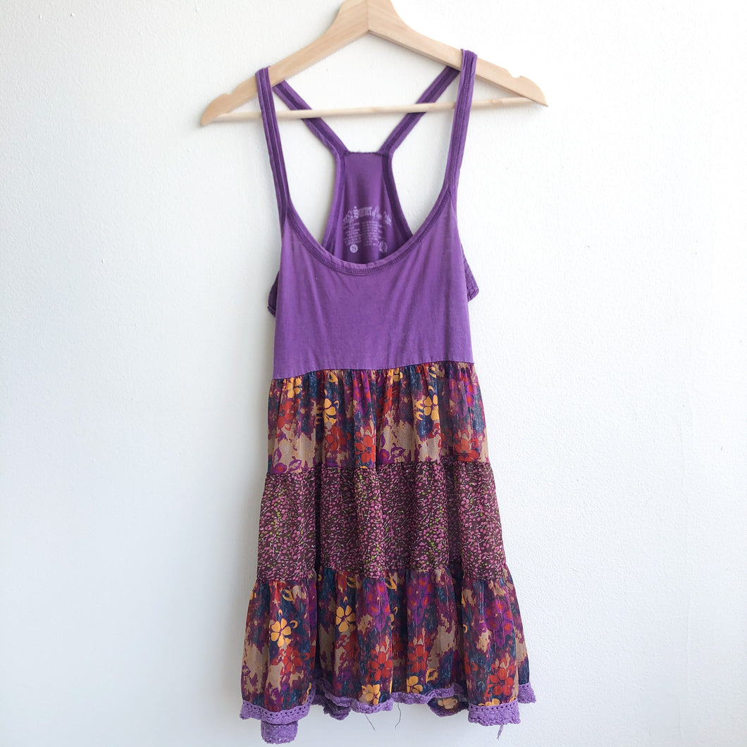 Boho Purple Floral Dress