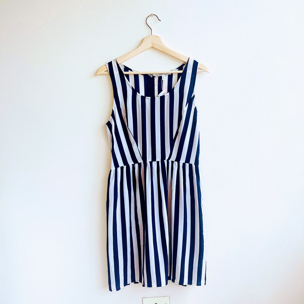 Navy Vertical Stripe Dress