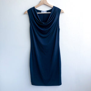 Black Draped Neckline Stretchy Dress