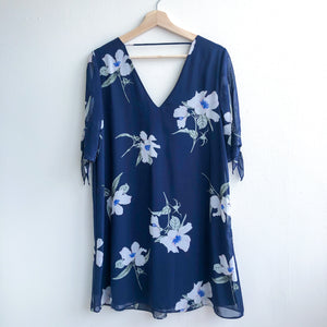 Navy Floral Dress Tie Bow Sleeve