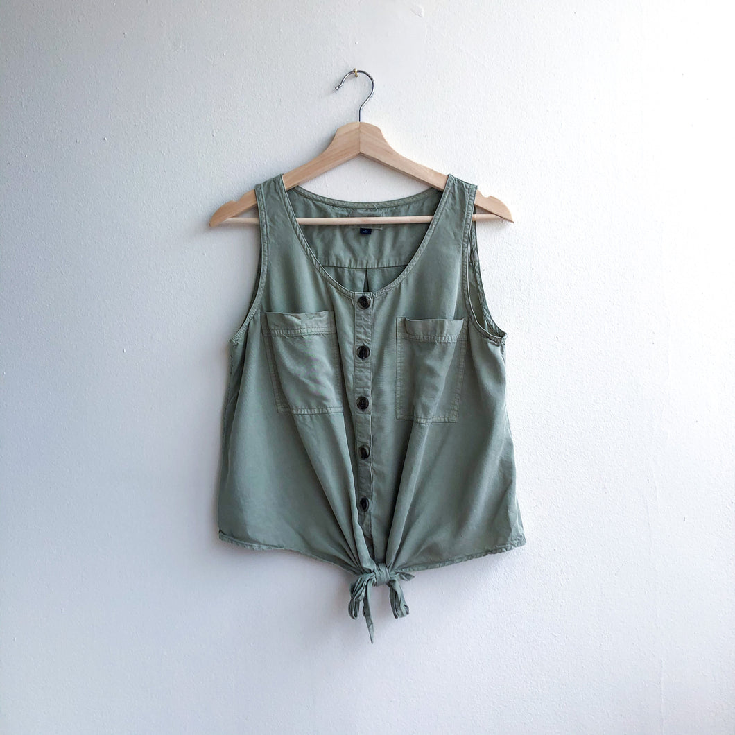 Military Green Tie Front Shirt