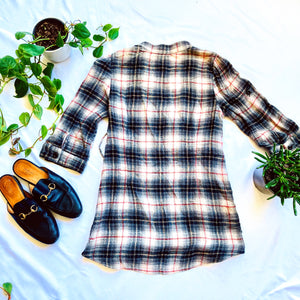 Plaid Blouse with Belted Waist
