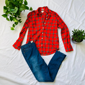 Plaid Red Flannel Boy Fit (XS)