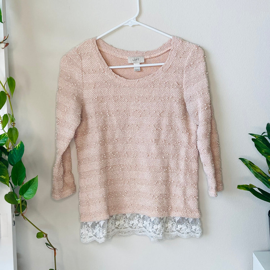 Pink Textured Sweater with Lace (S)