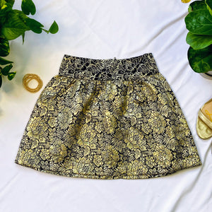 Black and Gold Brocade High Waisted Skirt