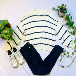 White Striped Oversized Sweater