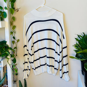 White Striped Oversized Sweater (L)