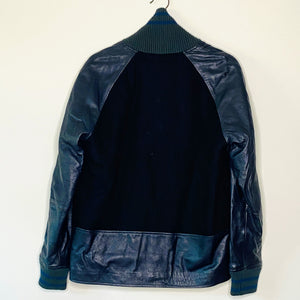 Leather Sleeve Wool Bomber (XS)