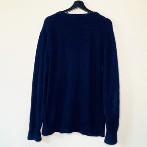 Navy Blue Spotted Wool Sweater (XL)