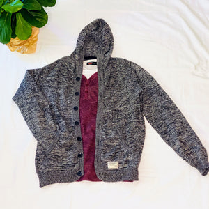 Gray Heathered Cardigan Hoodie (M)