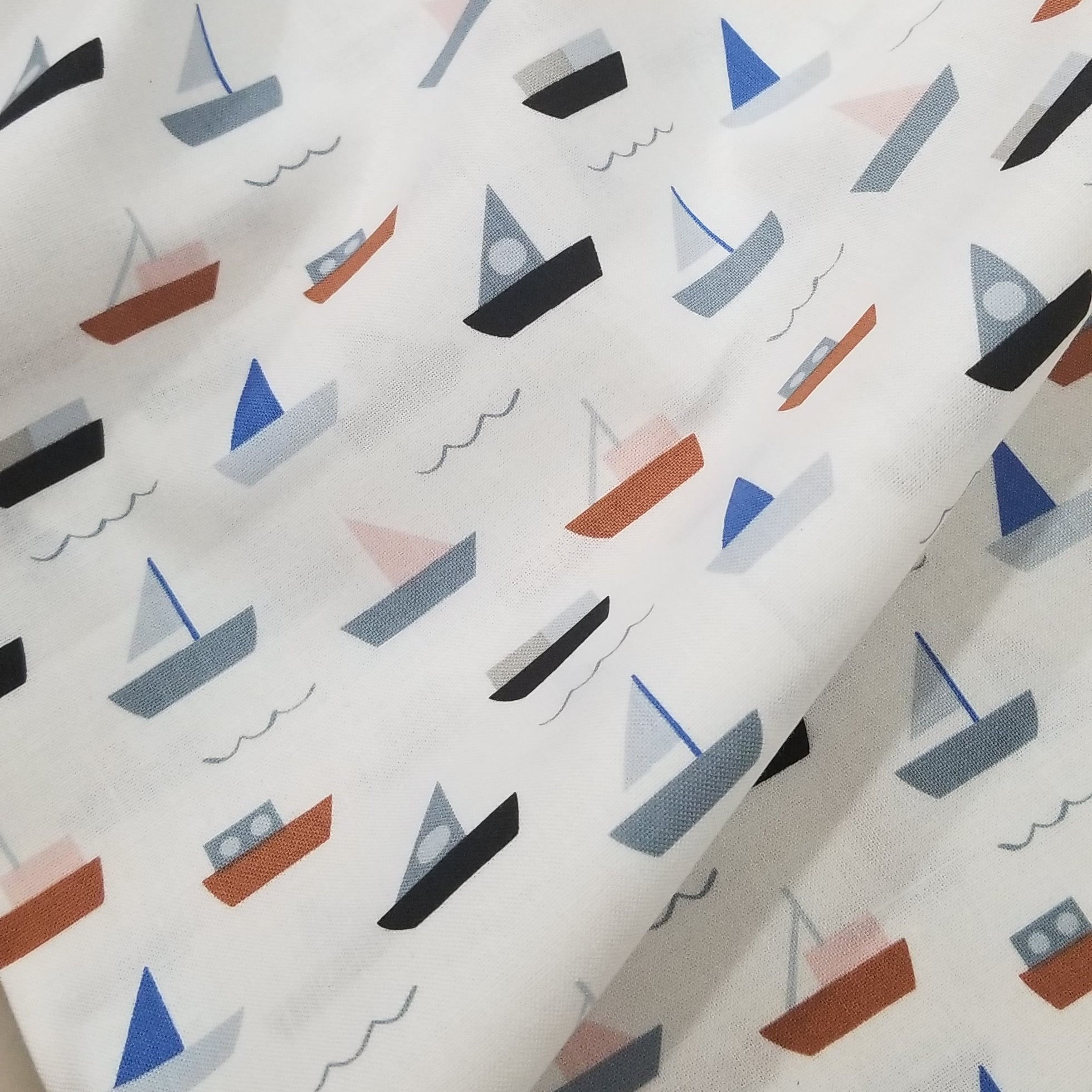 Moonlight Voyage by Amy Van Luijk - Sail Boats Fabric by the Half Yard