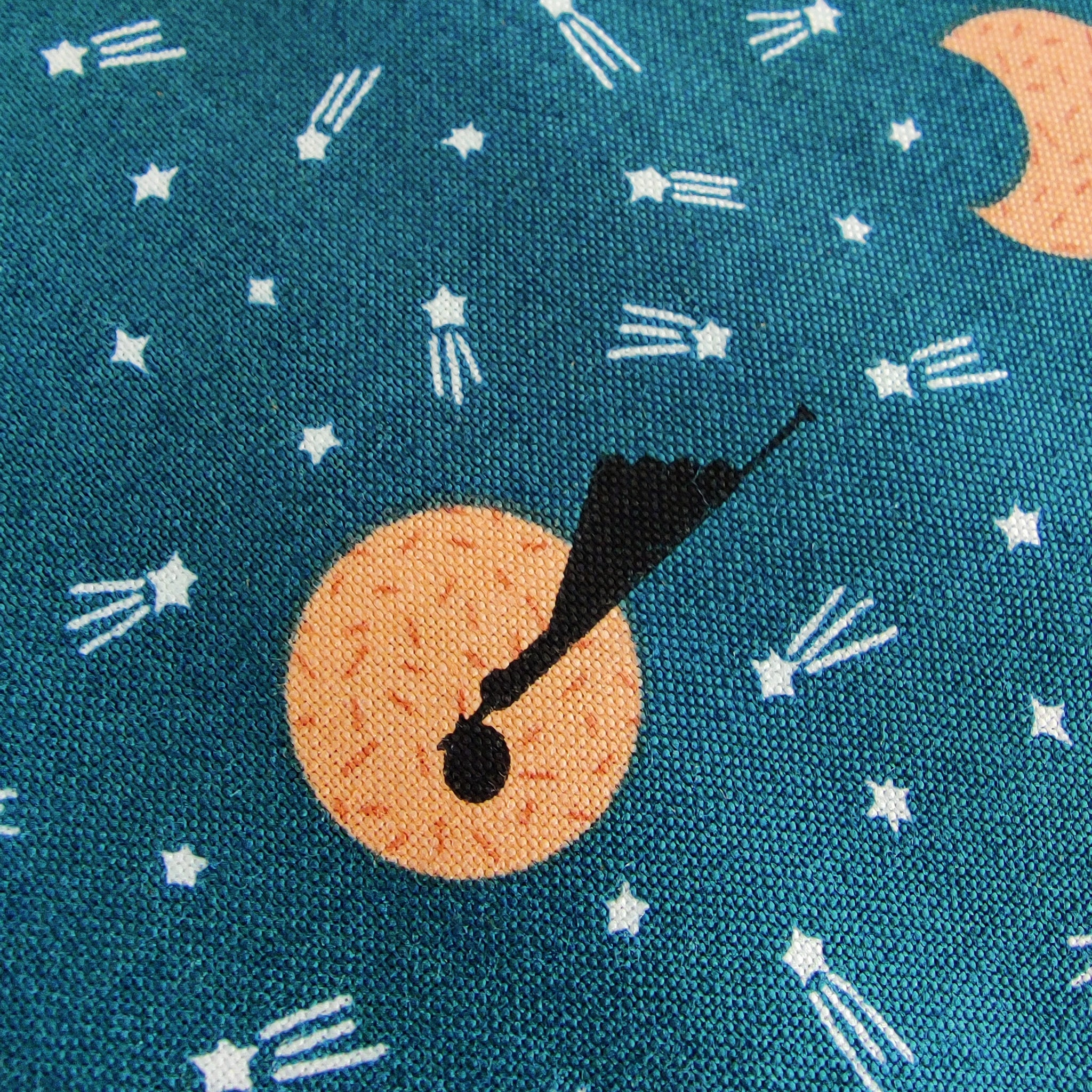 Night Time Stork Delivery Teal | Special Delivery by Lemonni | Cotton Fabric by the Half Yard