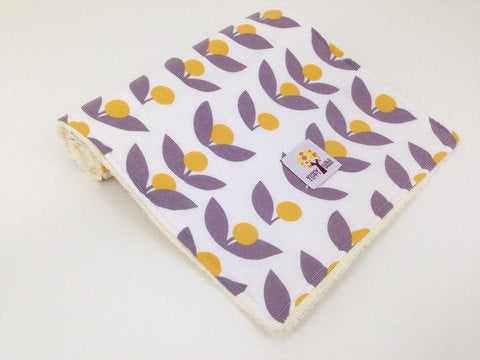 Burp Cloth - Yellow And Gray Flowers