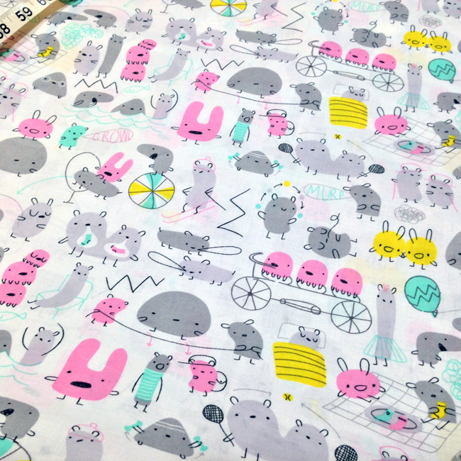 Yippy BeBe NJ fabric store Cloud9 Fabrics Monsterz Mash in pink by Michele Brummer Everett - 1 yard