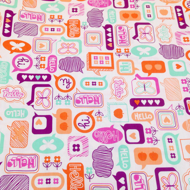 Yippy BeBe NJ fabric store Free Spirit Moxie Chatterbox in Tangerine by Eric McMorris - 1 yard