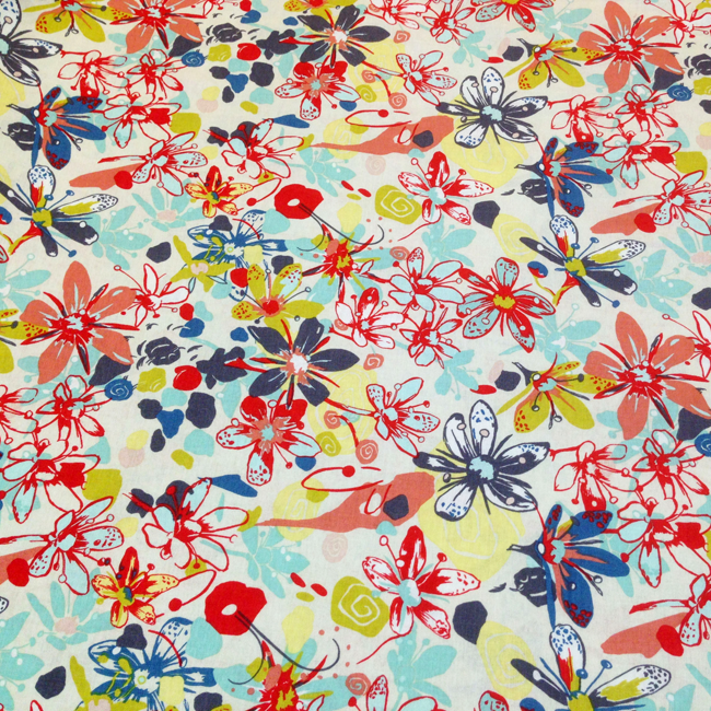 Yippy BeBe NJ fabric store Free Spirit Felicity Miller Botanica Tundra Flower Earthbright Cotton – 1 YARD