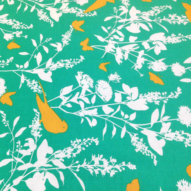 Yippy BeBe NJ fabric store Free Spirit Bungalow Swallow Emerald by Joel Dewberry - 1 yard