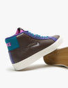 Nike SB Zoom Blazer Mid Premium Skate Shoes - Flax/White-Green Abyss-Court Purple