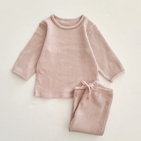 Baby Toddler 3/4 Sleeve Top and 7/8 Pants Set (1-5y) - Pink