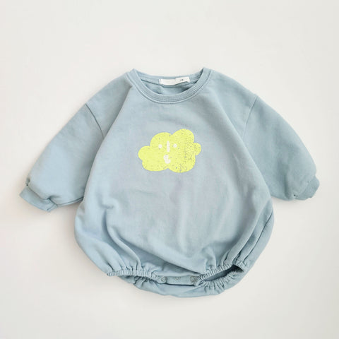 Baby Cloud Sweatshirt Romper (6-18m) - Blue