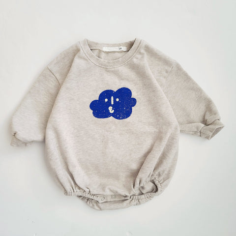 Baby Cloud Sweatshirt Romper (6-18m) - Oatmeal