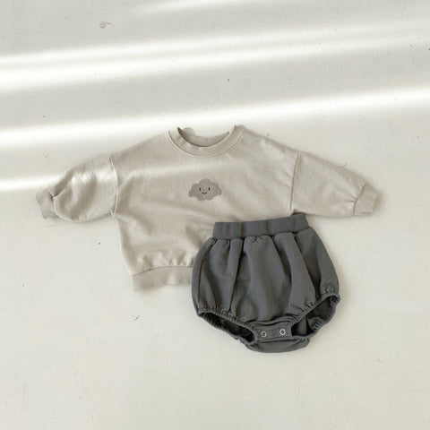 Baby Cloud Sweatshirt and Bloomer Shorts Set
