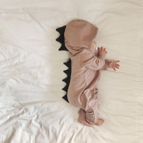 Baby Dinosaur Hooded Jumpsuit - Pink