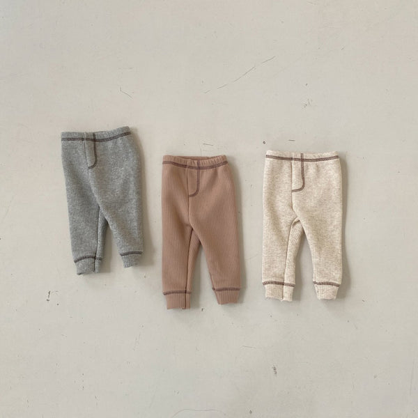 Baby Fleece Lined Contrast Stitch Leggings - Oatmeal, Beige, Grey