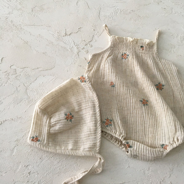 Baby Floral Embroidered Bonnet (0-18m)