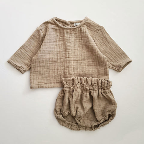 Baby Gauze Cotton Top and Bloomer Shorts Set (3-18m) - Brown