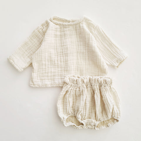 Baby Gauze Cotton Top and Bloomer Shorts Set (3-18m) -Ivory