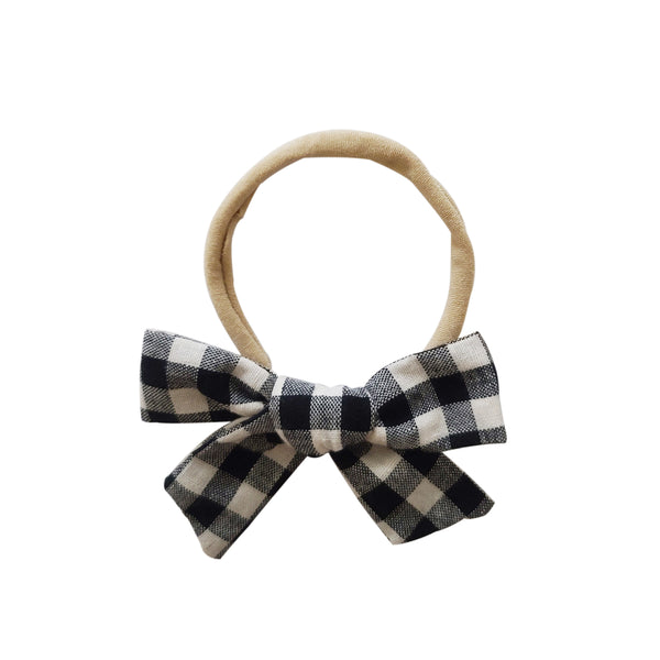 Baby Gingham Bow Headband - 6 Colors