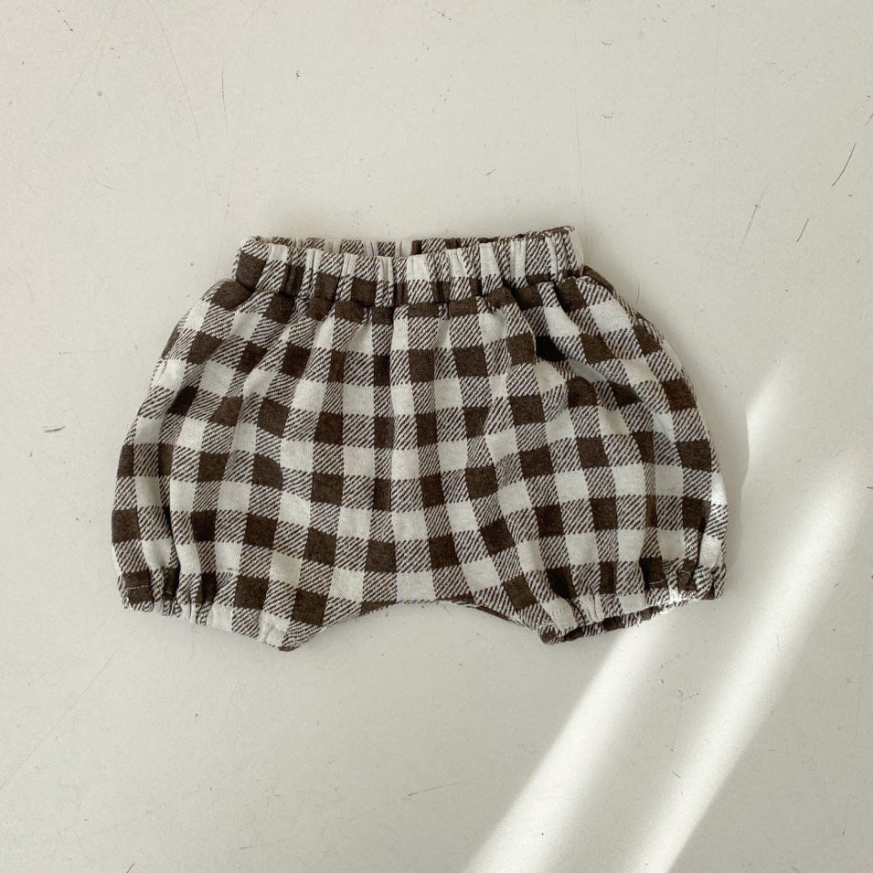 Baby Plaid Bubble Bloomer Shorts (3-18m) - Brown