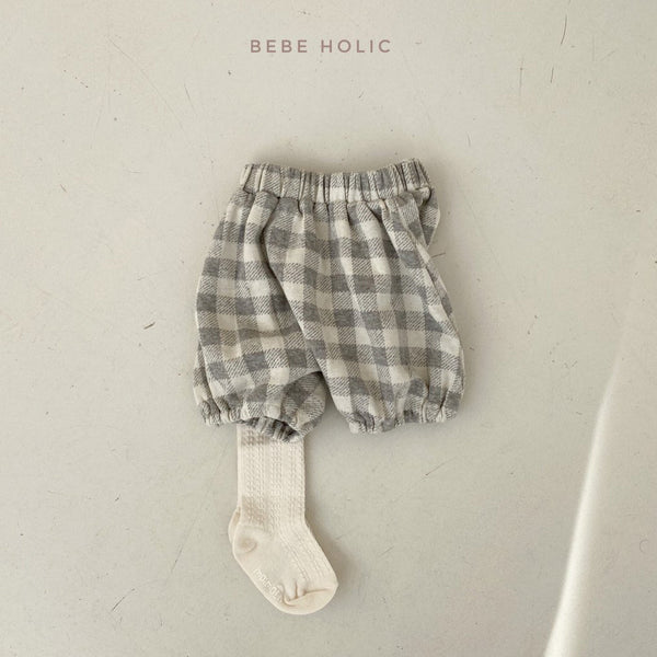 Baby Plaid Bubble Bloomer Shorts (3-18m) - Gray