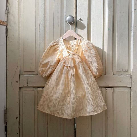 Baby Girls Seersucker Lace Up Bubble Dress (1-6y) - Honey