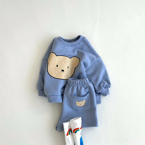 Baby Kids Bear Face Sweatshirt and Shorts Set (4m-6y) - Blue