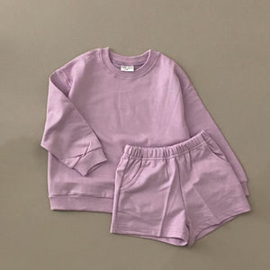 Baby Kids Sweatshirt and Shorts Set (1-5y) - Lilac