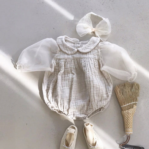 Baby Organza Puff Sleeved Bubble Romper (6-18m)