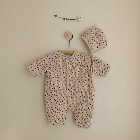 Baby Padded Snowsuit and Bonnet Set (3-18m) - Pink