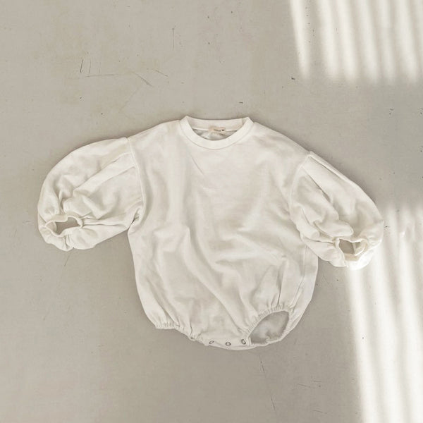 Baby Puff Sleeve Sweatshirt Romper (3-18m) -Cream