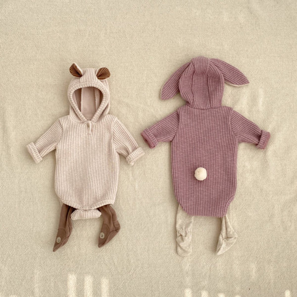 Baby Ribbed-Knit Bear Romper (3-18m)