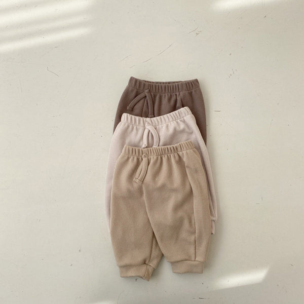 Baby Ribbed Pull-on Jogger Pants (3-18m) -  Brown