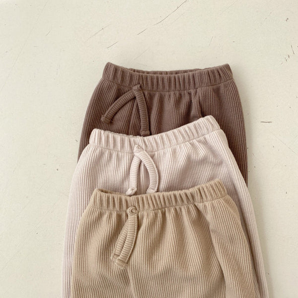 Baby Ribbed Pull-on Jogger Pants (3-18m) - Beige