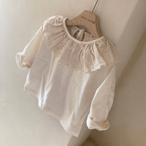 Baby Ruffle Collar Tie Back Long Tee (9-21m)- Ivory, White