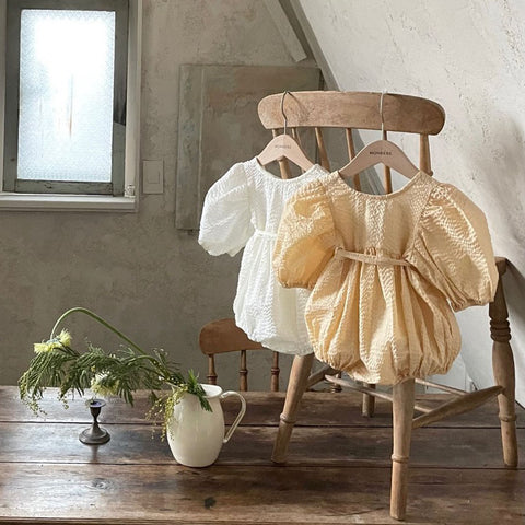 Baby Seersucker Lace Up Bubble Romper (3-18m) - Honey