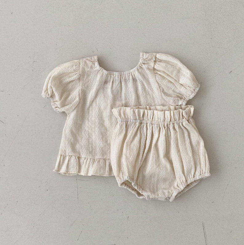 Baby Short Sleeved Ruffle Blouse and Bloomer Shorts Set (3-18m) -Ivory