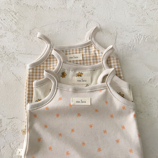 Baby Sleeveless Romper (0-18m) - Yellow Flower