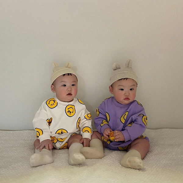 Baby Smiley Face Print Sweatshirt and Bloomer Shorts Set (3-24m)- Purple