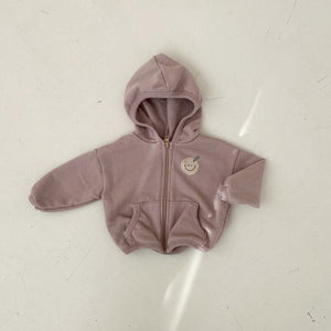 Baby Smiley Face Zip-Up Hoodie (3-18m) - Cocoa