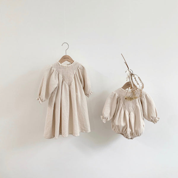 Baby Smocked Yoke Romper (3-6m) - Cream